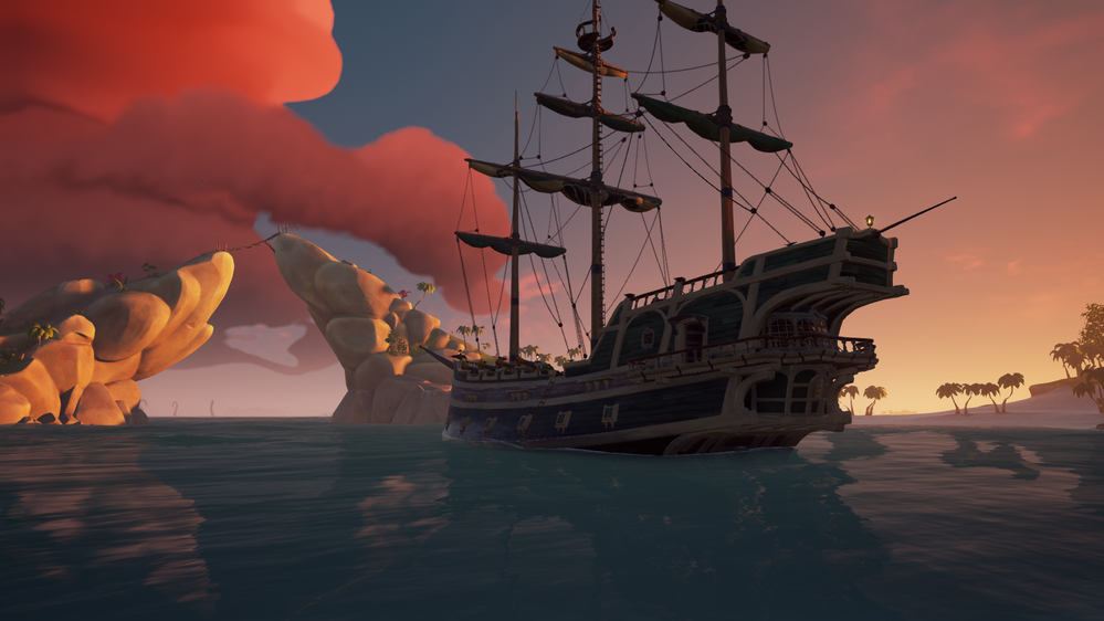 Sailing the Sea of Thieves in a three mast ship