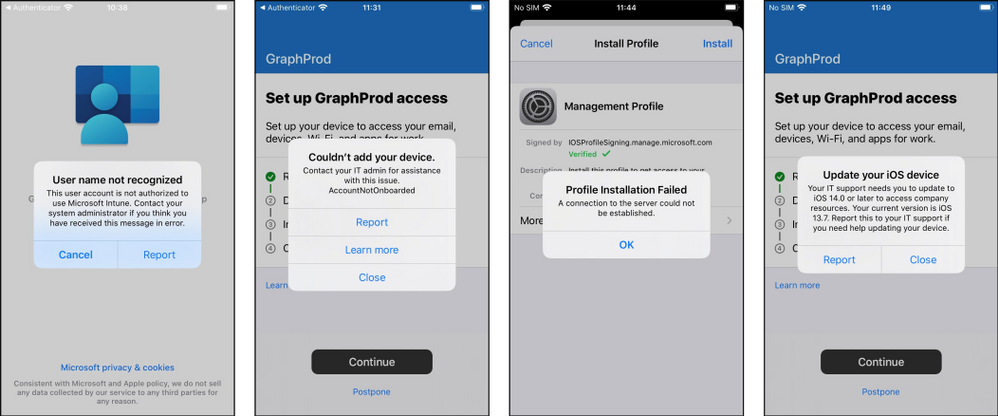 Common error messages users might see when enrolling an iOS device.