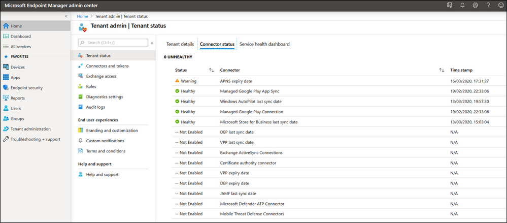 Example screenshot of Connector status details under the Tenant admin blade.