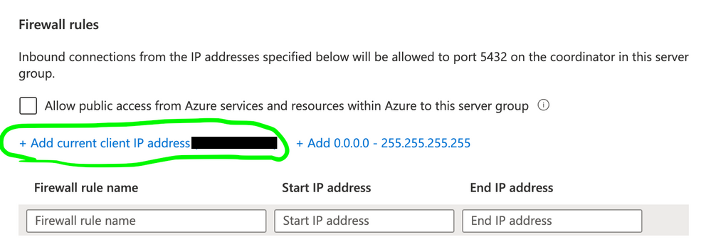Figure 4: For firewall rules, add current client IP address.