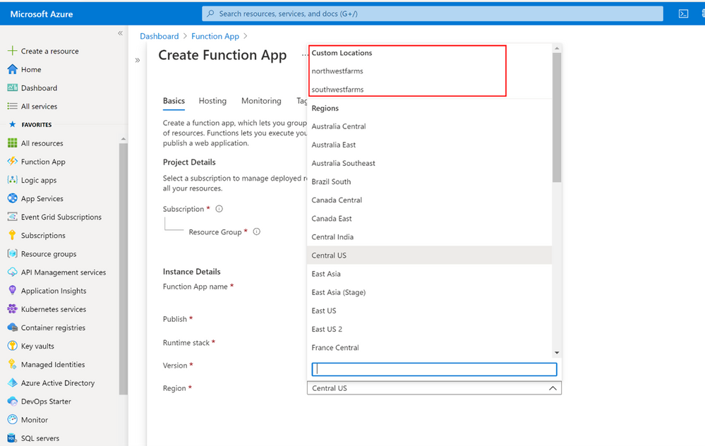Azure Functions deployment targeting a custom location