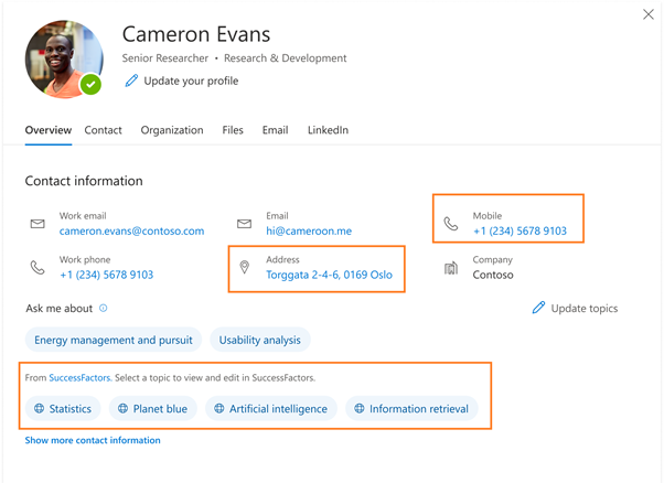 thumbnail image 1 of blog post titled Profile enrichment with Microsoft Graph connectors
