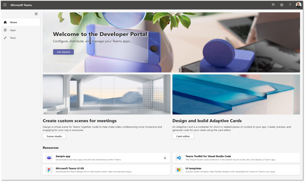Home page of the Developer Portal