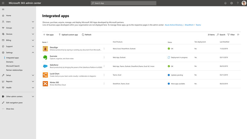 Integrated apps view in the Microsoft 365 admin center