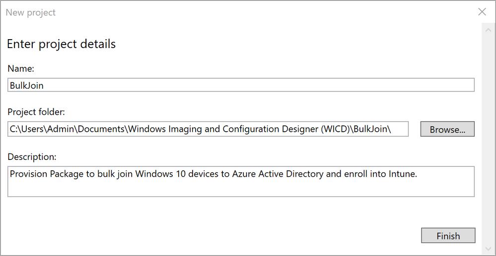 Figure 3: WCD Enter project details