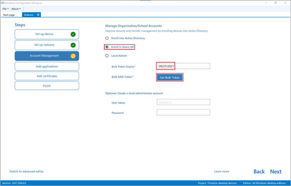 Figure 5: WCD Account Management