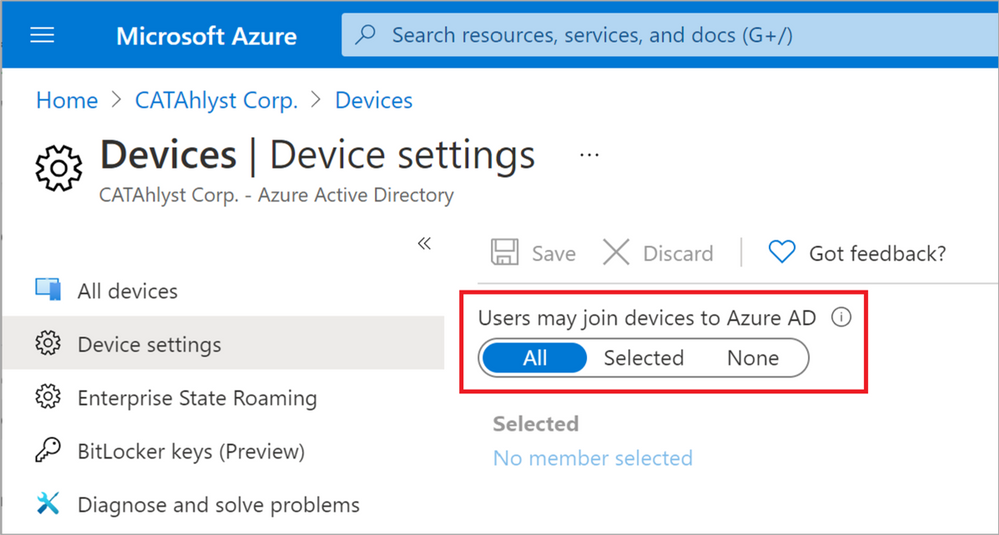 Figure 9: Users may join devices to Azure AD