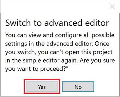 Figure 14: Switch to advanced editor