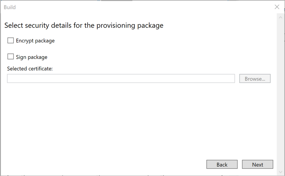 Figure 19: Security details for the provisioning package
