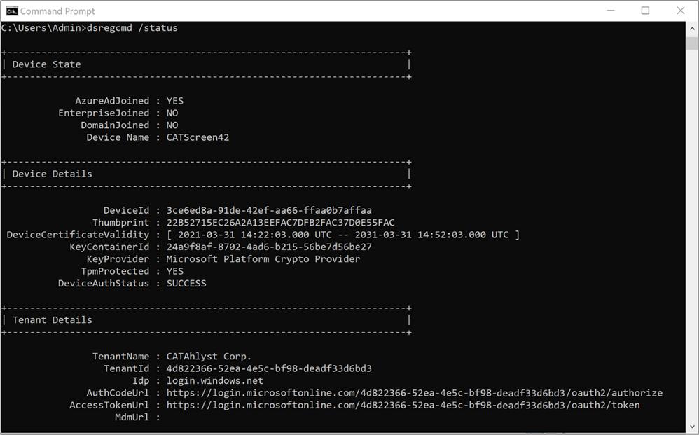 Figure 25: Device Domain Status - Post Azure AD join
