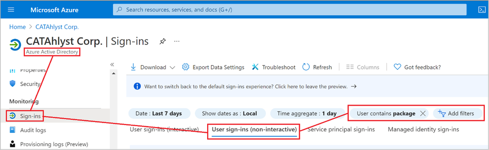 Figure 26: Azure AD Sign-in logs