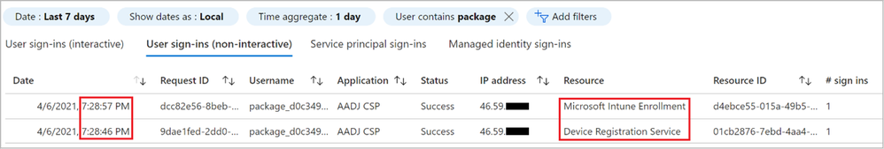 Figure 27: Sign-in log entries