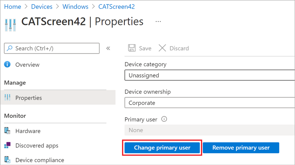 Figure 30: Change primary user for a device