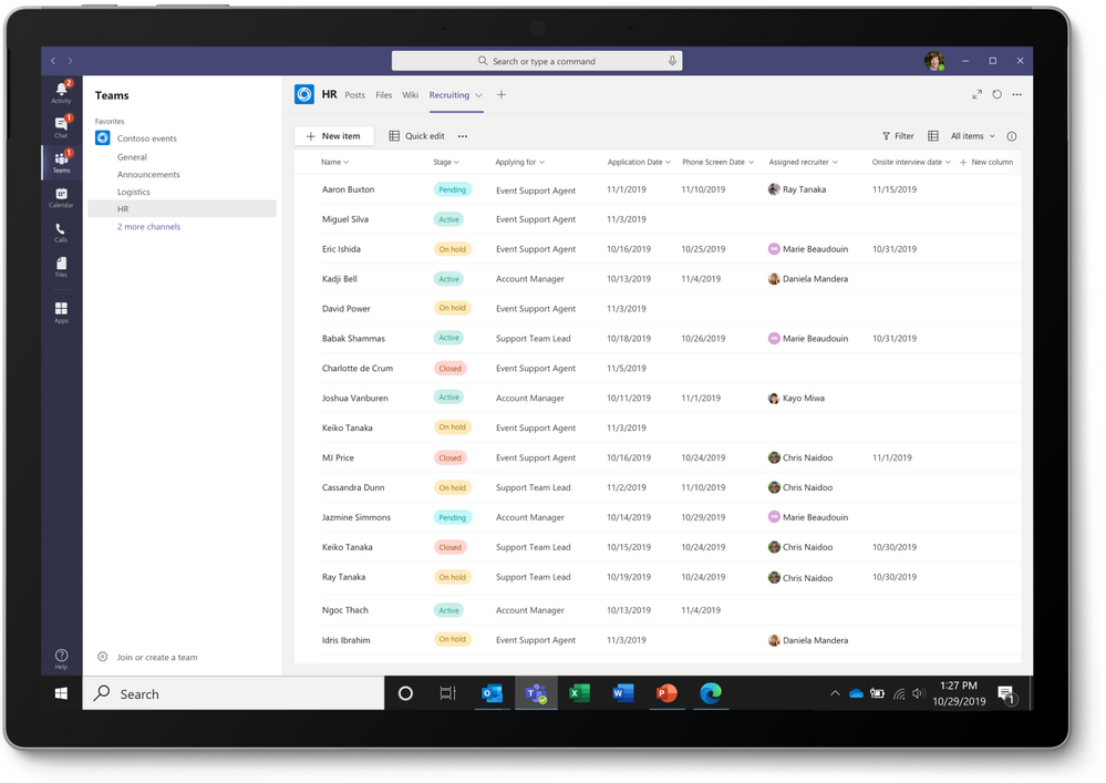 thumbnail image 2 captioned The Recruitment Tracker template from Microsoft Lists as a tab in Microsoft Teams