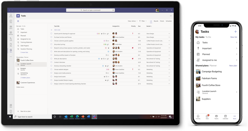 thumbnail image 3 captioned The Tasks app in Microsoft Teams on desktop (left) and mobile (right).