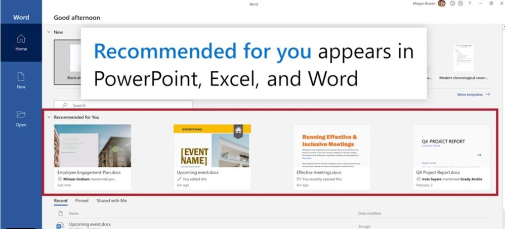 View Recommended for you file in the backstage of Word on Windows.