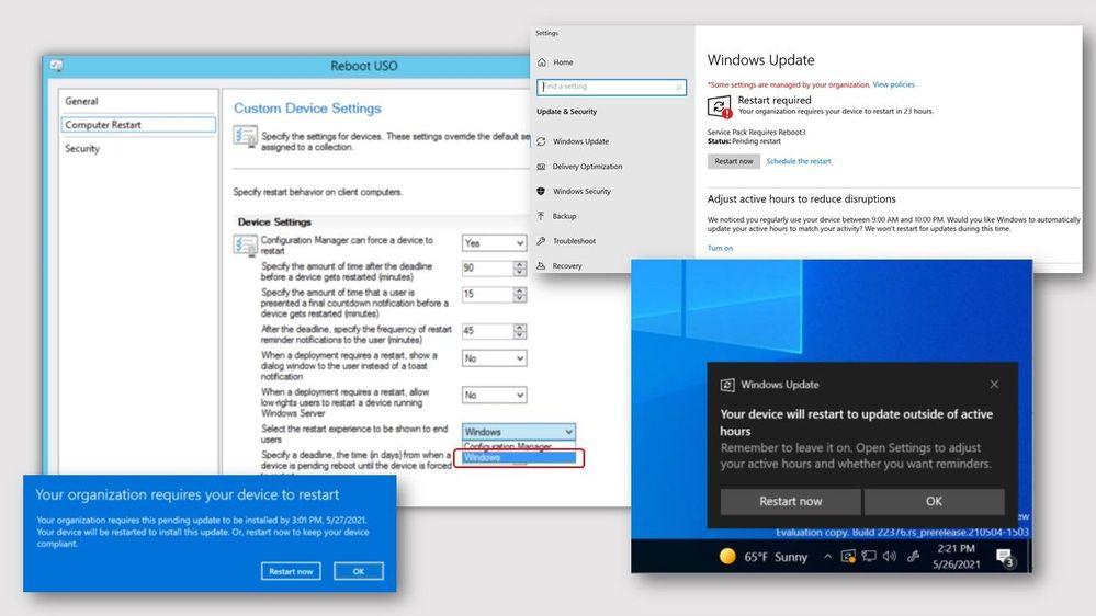 screenshots of Windows native software update experience