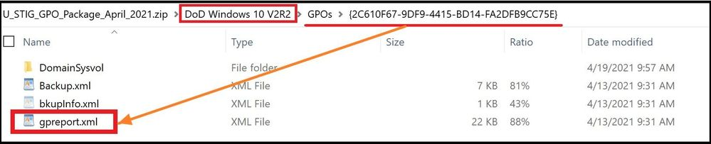Selecting the gpreport.xml