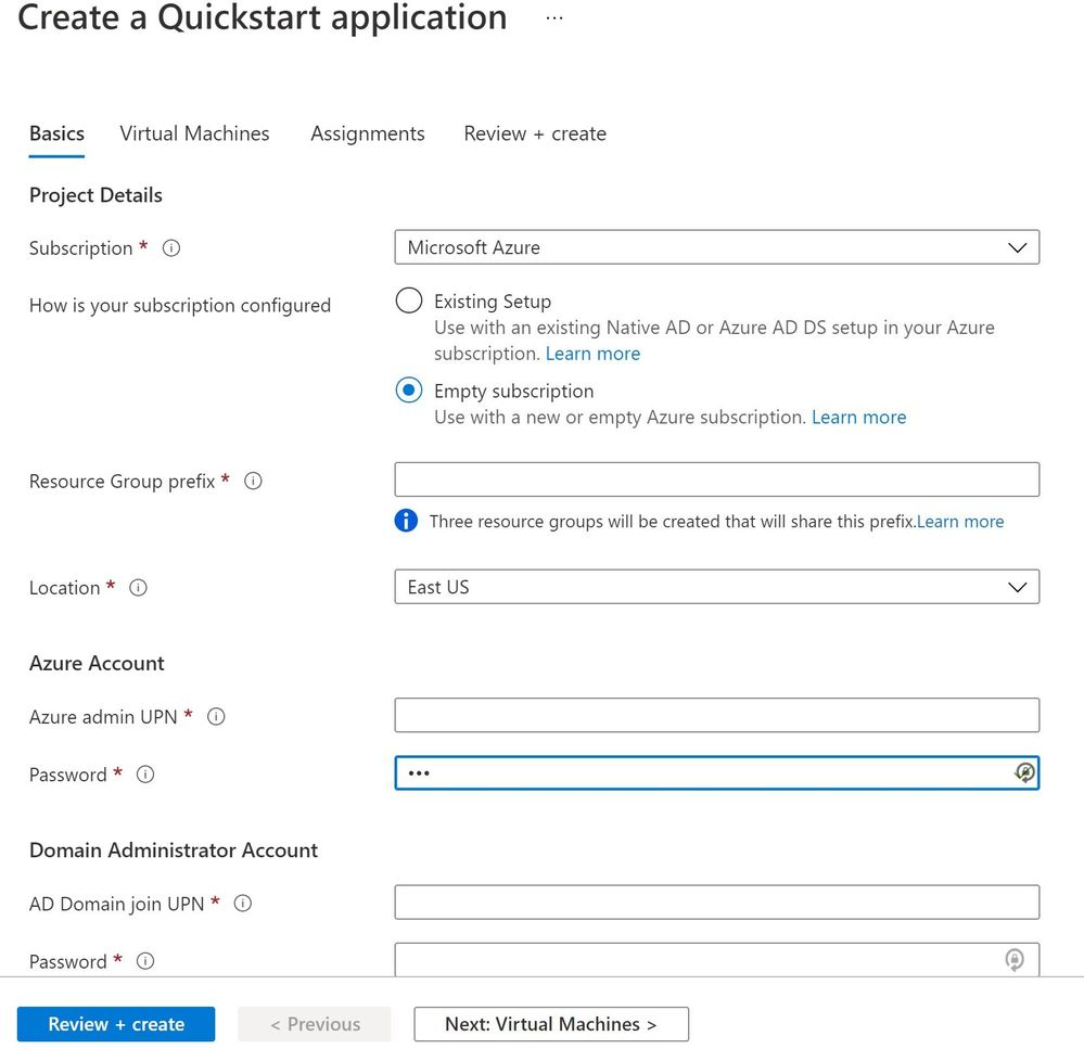 The new Quickstart experience for getting started in the Azure portal.