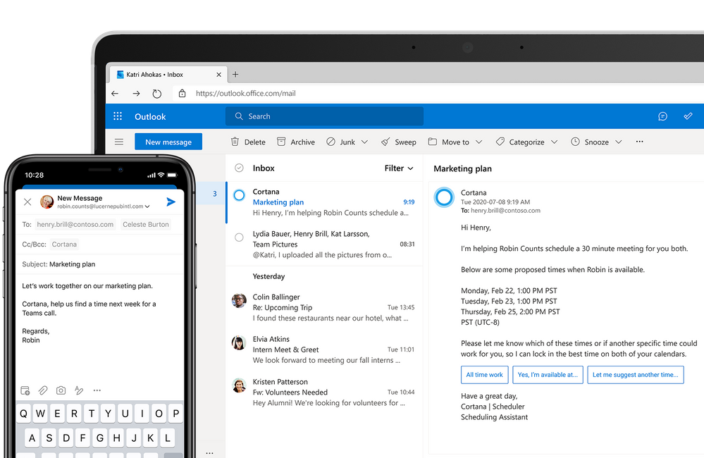 thumbnail image 1 of blog post titled Scheduler, a new Microsoft 365 service, makes scheduling meetings easier and faster