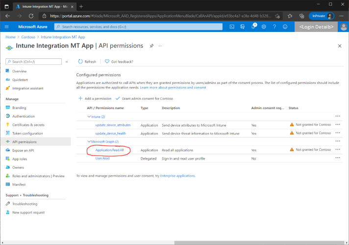 """Figure 2 - List of assigned API permissions for the selected app with """"Application.Read.All"""" highlighted."""