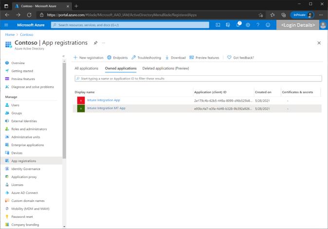 Figure 3 - List of App registrations in the Azure AD portal.