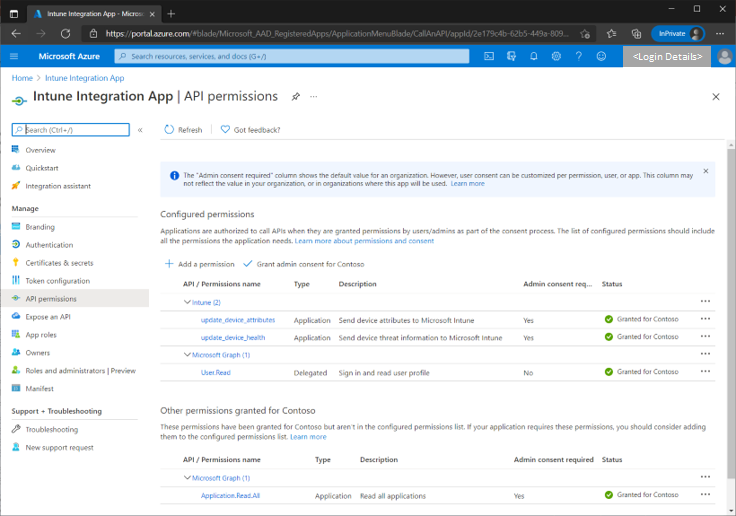 Figure 11 - Navigating to the API permissions blade in the Azure AD portal.
