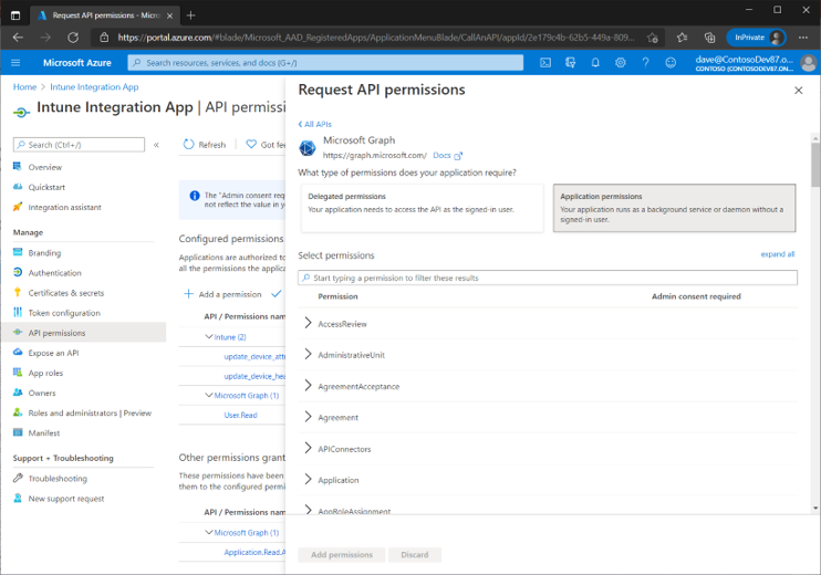 Figure 14 - Requesting the Application permissions for the Microsoft Graph application.