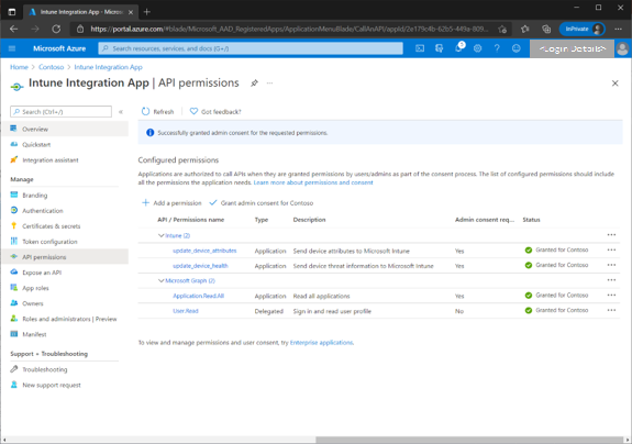Figure 17 - Example screenshot of granted API permissions for a tenant.