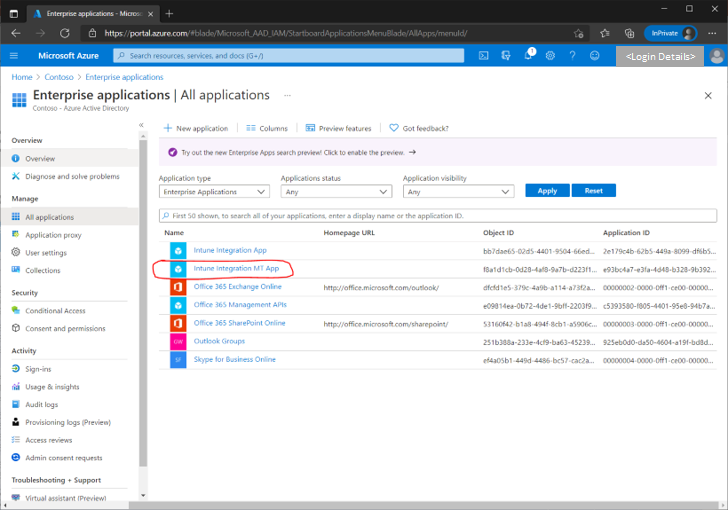 Figure 18 - Example screenshot of an Azure AD app registered for the Intune integration.