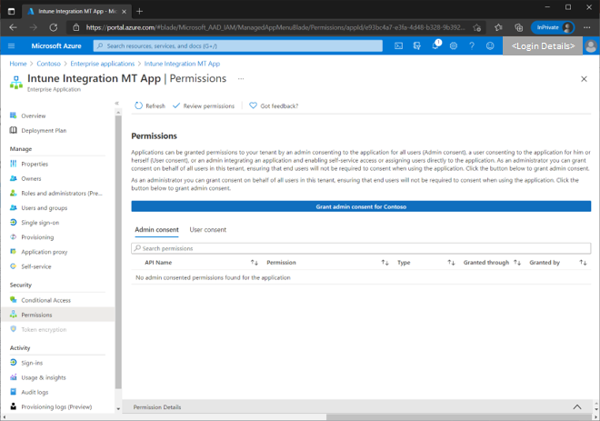 Figure 20 - Permissions blade of an example Azure AD app registered for the Intune integration.
