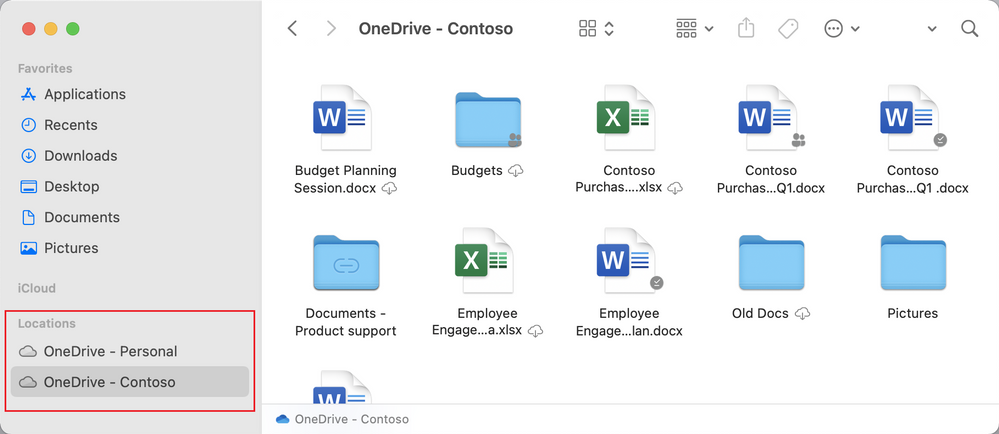 OneDrive folder will be visible under Locations in the Finder sidebar providing a native experience.
