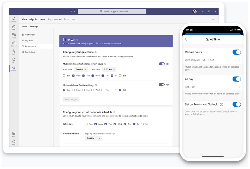 Introducing quiet time settings to silence after-hours mobile notifications from Teams and Outlook