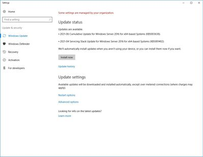 Windows Update Settings on server