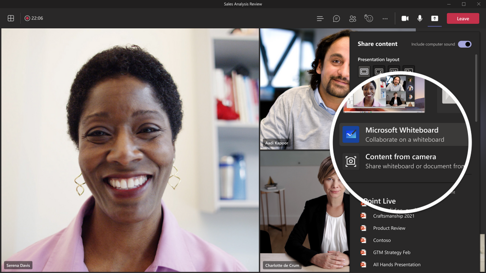 The new Microsoft Whiteboard is integrated seamlessly across Microsoft 365 such as Teams, Office.com, OneDrive and SharePoint.