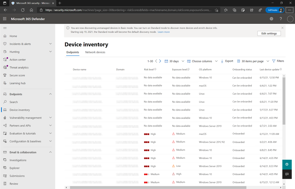 """Figure 1: Device inventory view listing """"Can be onboarded"""" devices and option to enable Standard Mode discovery."""
