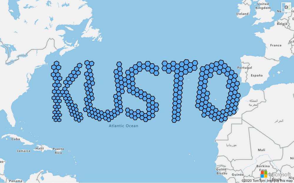 "Visualizing ""Kusto"" on a map: https://gist.github.com/cosh/2c22c1ccf673f2af1dc44aa764887c4b#file-map-geojson"