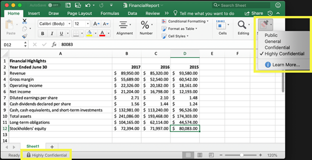 Example of a Highly Confidential sensitivity label applied to an Excel file