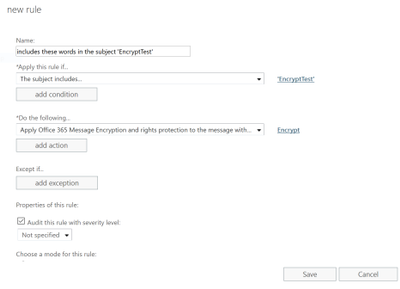 You as an administrator can create new mail flow rule to automatically apply the encrypt-only policy to emails.