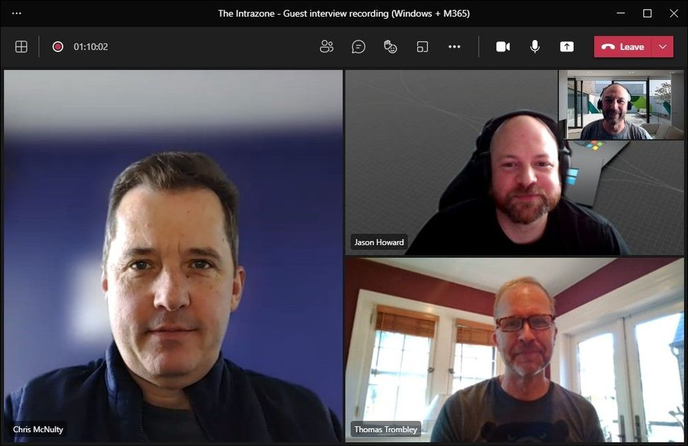 Intrazone hosts + guests: Chris McNulty (Director – Microsoft Viva Topics and SharePoint Syntex) [co-host], Jason Howard (Senior program manager - Windows, Developers, and Experiences (WDX)), {smaller inlay photo upper-right} Mark Kashman (Senior product manager – Microsoft Lists and SharePoint) [co-host], and Thomas Trombley (Senior program manager - Windows Servicing and Delivery).