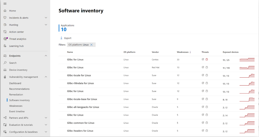 Image 2: Software inventory page in the vulnerability management portal, showing glibc across various Linux systems