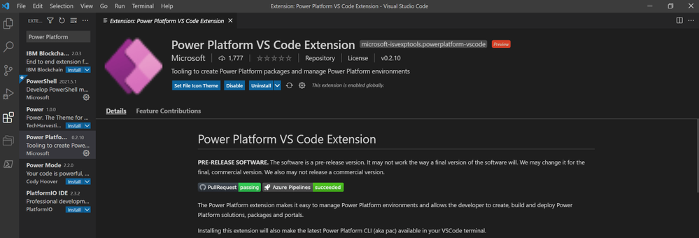 PowerApps_VisualStudio_PowerPlatform_Extension_Installed