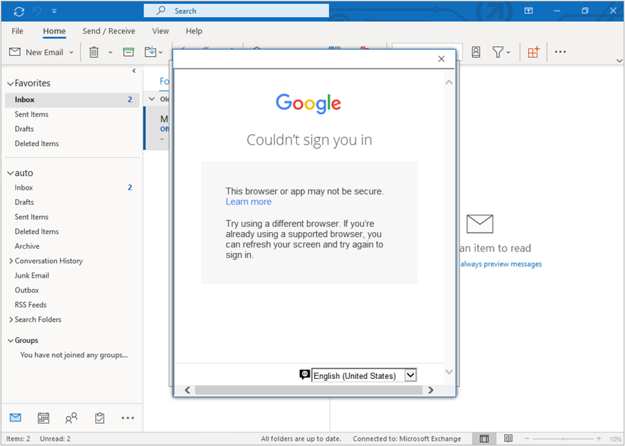 """Google prompt in Outlook displaying a message """"Couldn't sign you in. The browser or app may not be secure""""."""