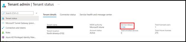Example screenshot of the Tenant admin > Tenant status blade.