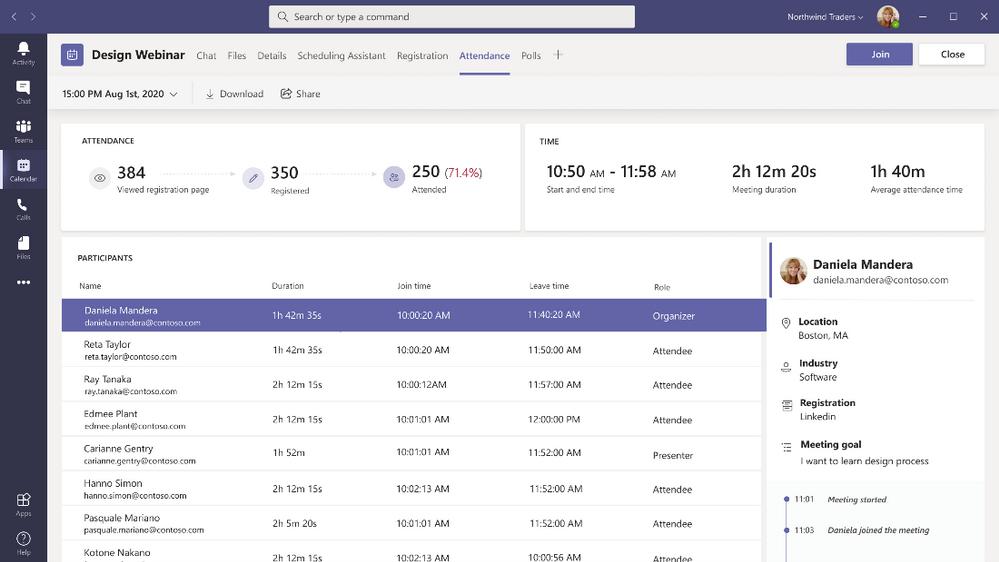 Attendance Dashboard in Microsoft Teams