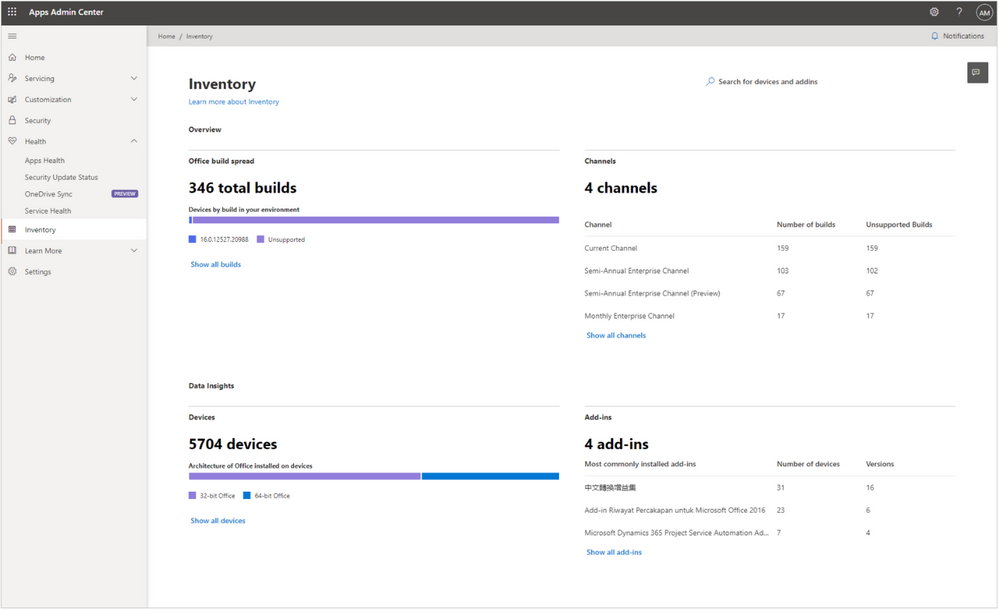 Inventory -  Providing easy overview of e.g. different releases of the Microsoft 365 Apps