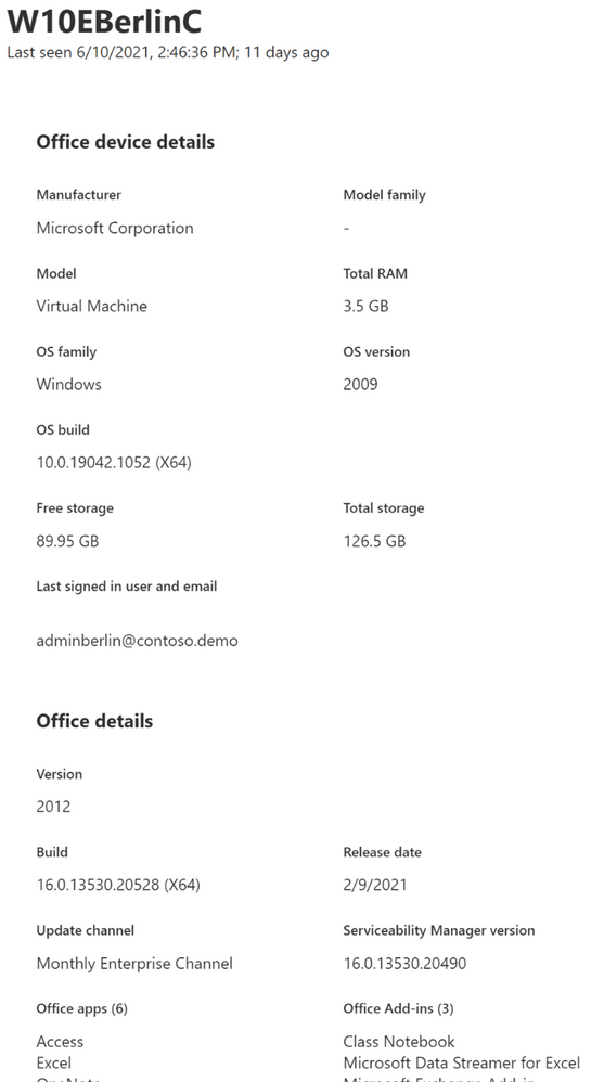 Detail pane of a devices, showing device name, memory, installed version of Windows and Office and more