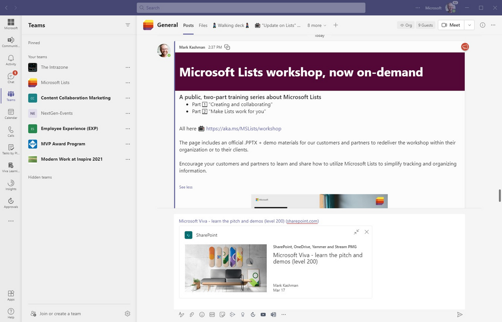 """The example """"Microsoft Viva – learn the pitch and demos (level 200"""" SharePoint page URL, after pasting it to the bottom of this chat, renders a preview of the page graphic, title, author and publish date."""
