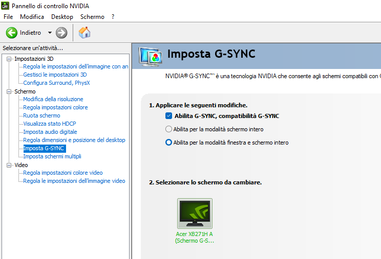 NVIDIA Control Panel (G-SYNC Enabled)