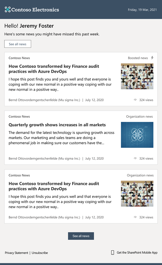 The SharePoint auto-news digest sends an automated, customized email to users about the latest news posts that are relevant to them, but that they may not have viewed yet.